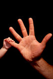 baby trusts in hand holding Royalty Free Stock Image