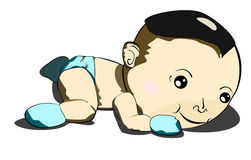 Baby try to Crawl. An Asian smiling baby trying to crawl Royalty Free Stock Image