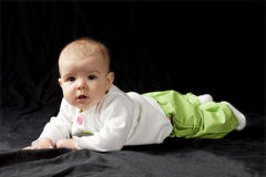 Baby on tummy Royalty Free Stock Image