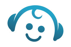 Baby Tune logo. With a baby face and headphones Stock Images
