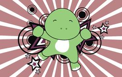 Baby turtle jumping cartoon background Royalty Free Stock Photos