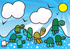 Baby Turtles. A childish draw of nine baby turtles Royalty Free Stock Photography