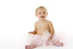 Baby in tutu. On a white bacground Royalty Free Stock Photography