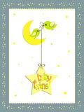 Baby twins card design. A illustration of  baby twins card design with moon and stars Stock Photo