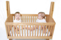 Baby Twins In Crib Royalty Free Stock Images