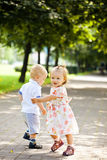 Baby twins outdoor Royalty Free Stock Images