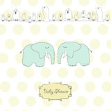 Baby twins shower card Royalty Free Stock Photo