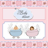 Baby twins shower card Royalty Free Stock Photography
