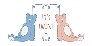 Baby twins shower card. Arrival card with place for your text. Royalty Free Stock Images