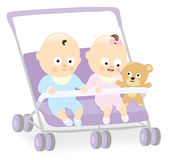 Baby twins in stroller with teddy bear vector illustration