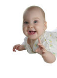 Baby with two teeths. Isolated stock photo