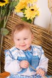 Baby in the Ukrainian national costume smiling Royalty Free Stock Images