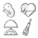 Baby with umbilical. Cord in heart shape vector illustration Royalty Free Stock Photos