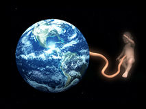 Baby Umbilical Cord Attached To Mother Earth 4. A conceptual image showing how the world can create life, in this case a baby. It could symbolizes mother earth Royalty Free Stock Photos