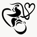 A baby with an umbilical cord that forms a shape of the heart.  Royalty Free Stock Photos