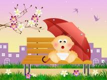 Baby with umbrella Stock Photos