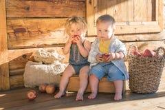 Baby und Junge mit Äpfeln lizenzfreie stockbilder