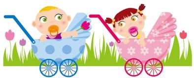 Baby und Mädchen Stockfoto
