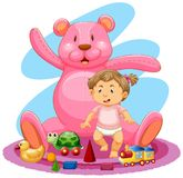Baby und Rosa teddybear Stockfoto