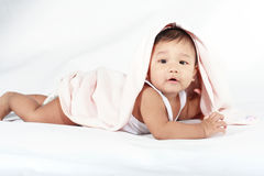 Baby under a blanket Royalty Free Stock Photo