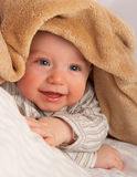 Baby under blanket. Baby lies under blanket close up Royalty Free Stock Photos