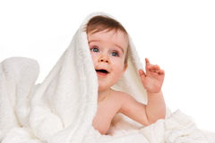 Baby under blanket. A young baby playing under a blanket Royalty Free Stock Images