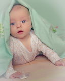 Baby under blanket Royalty Free Stock Photo