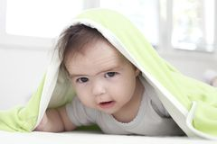 Baby under blanket Stock Photography