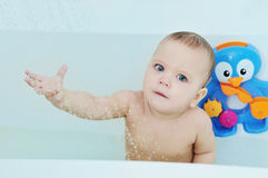 Baby under the shower Royalty Free Stock Photo