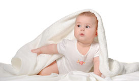 The baby under a towel Stock Photos