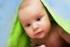 Baby under towel Royalty Free Stock Photography