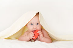 Baby under towel with toy Stock Photography