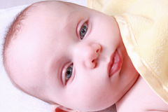 Baby under yellow blanket Stock Image