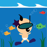 Baby underwater. Cute baby swim underwater with a group of fishes Royalty Free Stock Photography