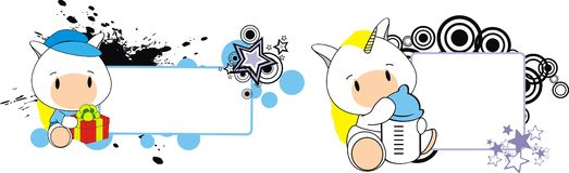 Baby unicorn cartoon feeding bottle copy space. Baby animal cartoon feeding bottle in vector format very easy to edit vector illustration