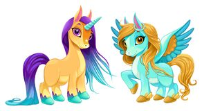 Baby unicorn and pegasus with cute eyes. Cartoon vector isolated characters Stock Image