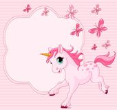 Baby unicorn place card Royalty Free Stock Photos