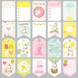 Baby Unicorn Tags. Baby Banners. Scrapbook Labels. Cute Cards Stock Photo