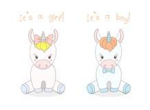 Baby unicorns boy and girl royalty free illustration