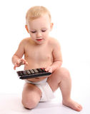 Baby used calculator Royalty Free Stock Photos