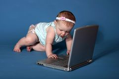Baby Uses Computer Stock Photos