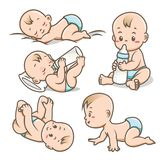 Baby With Various Poses / Activities Vector Illustration Collection stock illustration