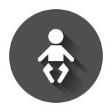 Baby vector icon. Child flat illustration on black round backgro Stock Images
