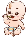 Baby. Vector Illustration of Cartoon Cute Baby eating Stock Photos