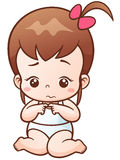 Baby. Vector Illustration of Cartoon Baby girl sad stock illustration