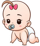 Baby. Vector Illustration of Cartoon Baby learn to crawl Stock Image