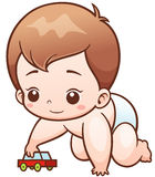 Baby. Vector Illustration of Cartoon Baby playing toy car Royalty Free Illustration