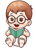 Baby. Vector Illustration of Cartoon Baby reading a book stock illustration