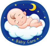 Baby. Vector Illustration of Cartoon Baby sleeping on a cloud Royalty Free Stock Photos