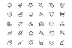 Baby Vector Line Icons 2 Royalty Free Stock Photography